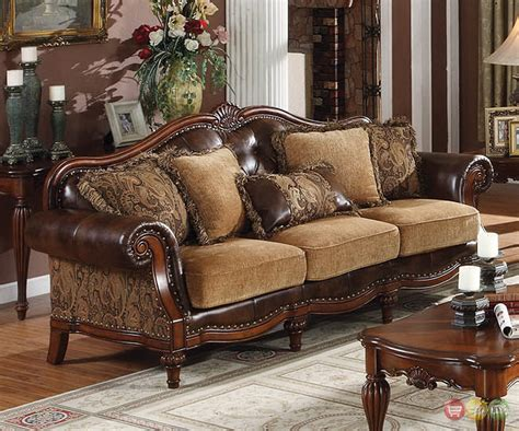 Dreena Traditional Formal Living Room Set Carved Cherry Cherry Wood Living Room Furniture
