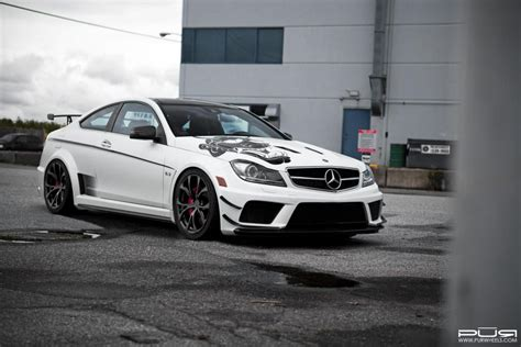 lowered amg barbaric mercedes benz c63 amg black series lowered on pur