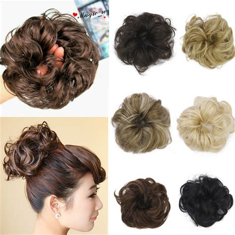 allie express hair buns 1pc hair chignon elastic hair rope synthetic hair bun