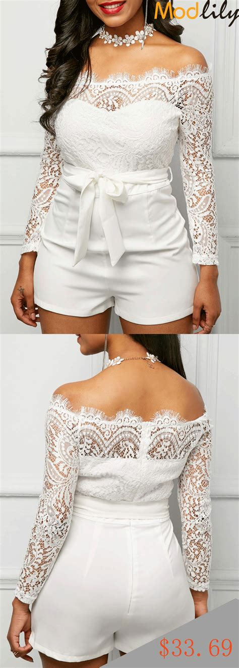 Sleeve Lace Panel White Bardot Romper by Lace Panel White Sleeve Bardot Romper On Sale At Modlily Fashion And Cheap Free Shipping
