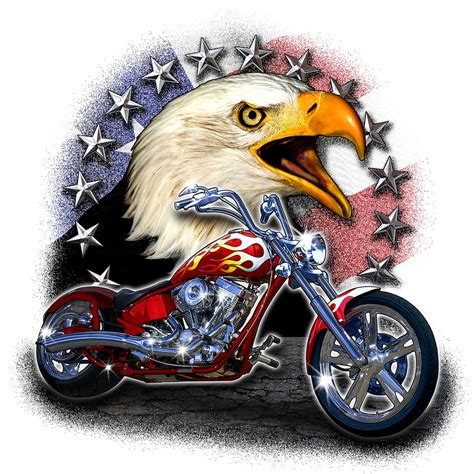Adler Motorrad by Eagle With American Flag And Chopper Motorcycle Bike