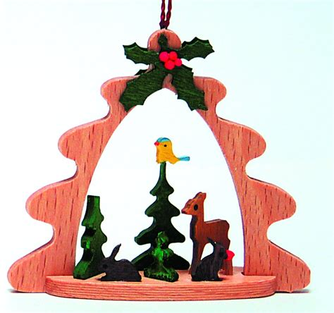 deer in forest german wood christmas tree ornament