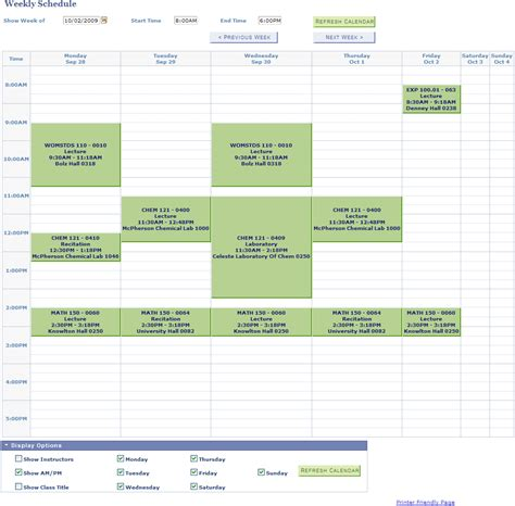 weekly class schedule template 6 best images of college schedule template printable