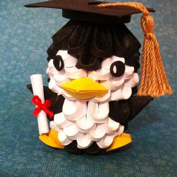3d origami graduation bear tutorial 3d origami graduation penguin from thearrings on etsy epic