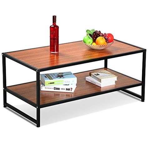 Wood Coffee Table With Shelf by Yaheetech Modern Living Room 2 Shelf Tier Large Rectangle
