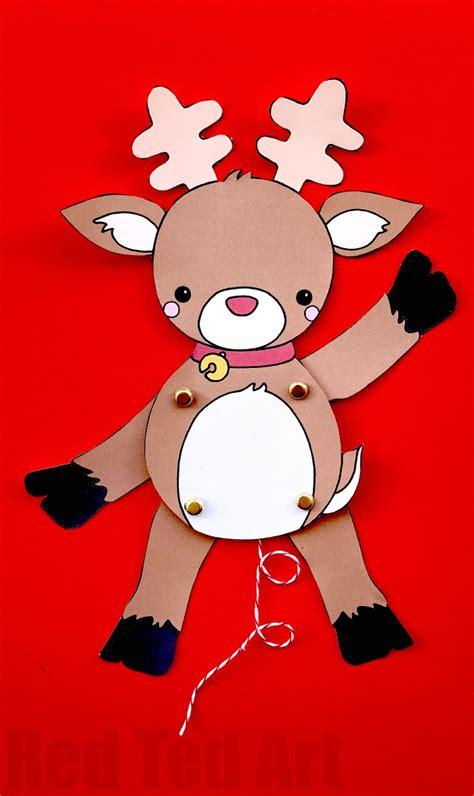 printable reindeer paper puppet paper reindeer puppet template red ted art s blog