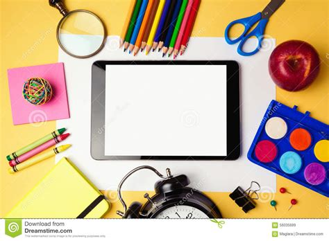 digital school back to school background with digital tablet and school