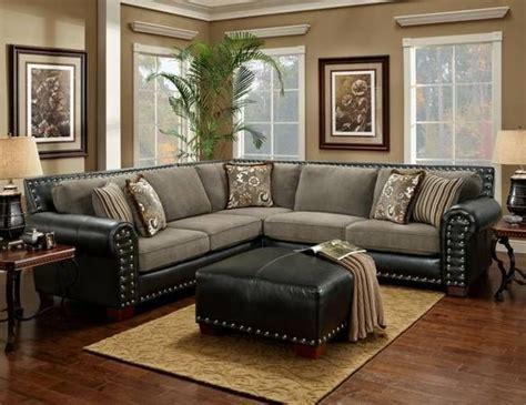 black  grey sectional sofa nailhead trim