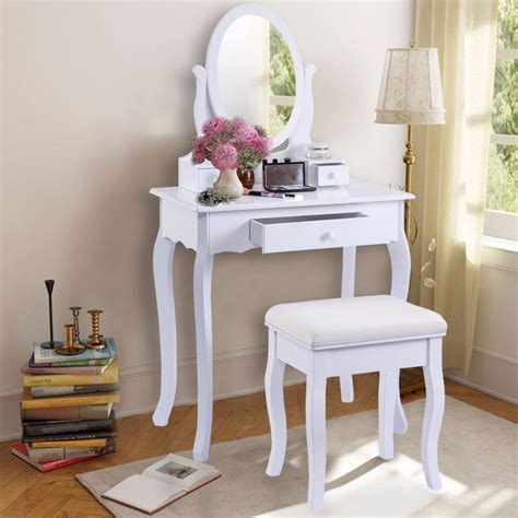 golpus white vanity table jewelry makeup desk  bench