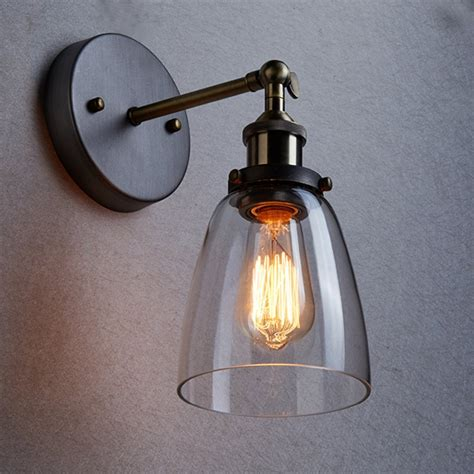 Industrial Wall Sconce Lighting Loft Vintage Industrial Edison Wall Ls Clear Glass Wall Sconce Warehouse Wall Light Fixtures