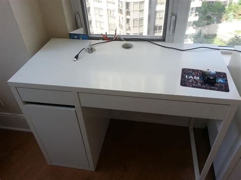 ikea micke rub white study desk with pull out drawers and
