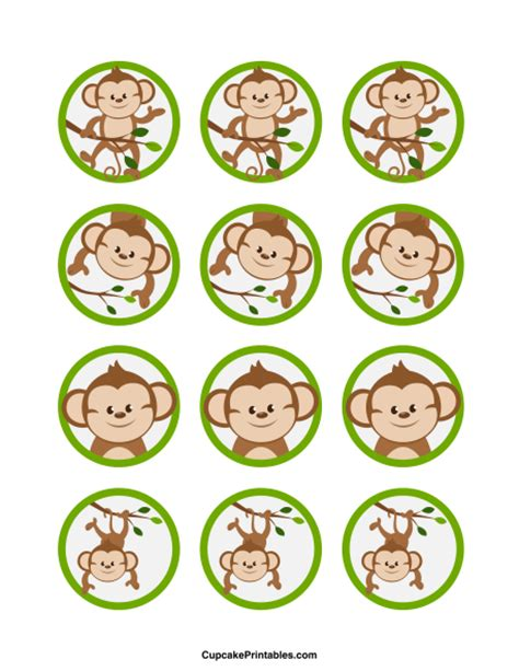 printable monkey birthday decorations printable monkey cupcake toppers