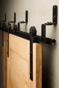Door sliding barn door with simple top rail and chic orange glass a