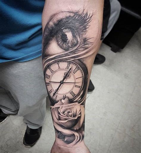 hand tattoo rose clock clock and rose tattoo www pixshark com images