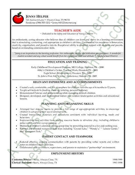 Resumes For Teachers by S Aide Or Assistant Resume Sle Or Cv Exle