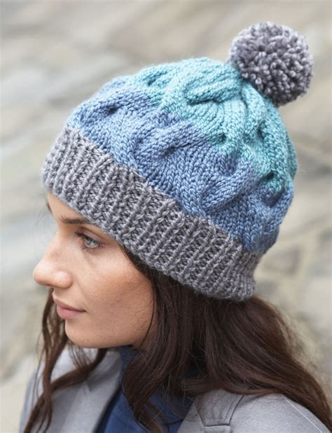 free hat knitting patterns patons striped cable hat knit pattern yarnspirations