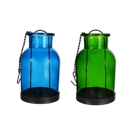 Hanging Votive Candle Holders 8x15cm Set Of 2 Hanging Glass Candle Holders Blue Green