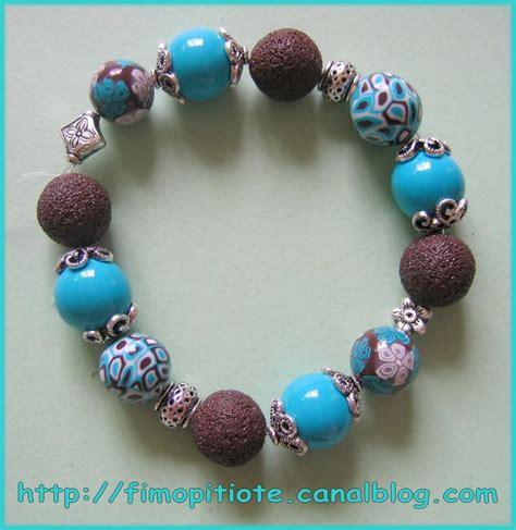 bracelet carrés bleus   Pitiote et la pate fimo