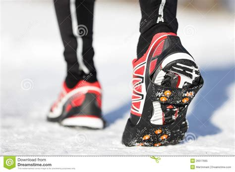 running shoes for snow running shoes in snow stock image image of runner non