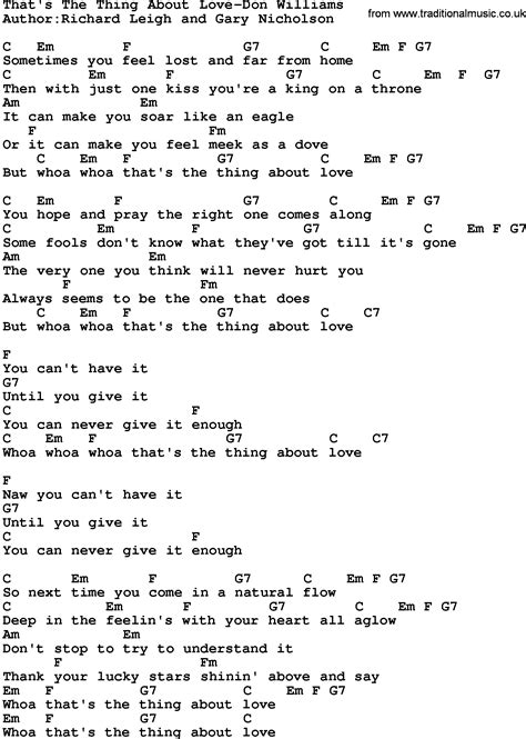 lyrics and country that s the thing about don williams