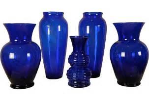 5 blue glass vases sold janice buck