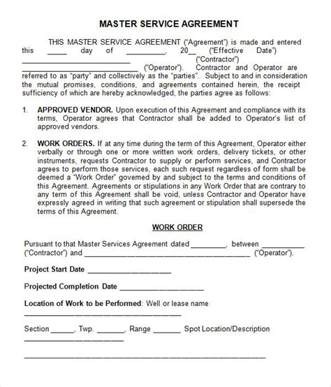 service agreements and contracts templates master service agreement 10 free documents in