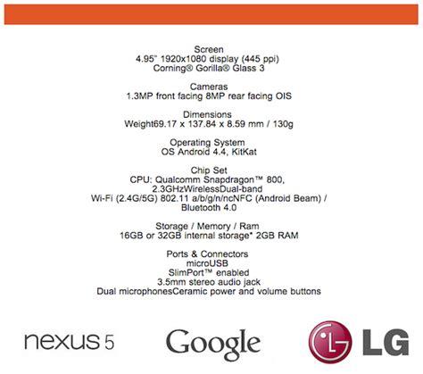 nexus 5 spec lg nexus 5 specifications features pricing info