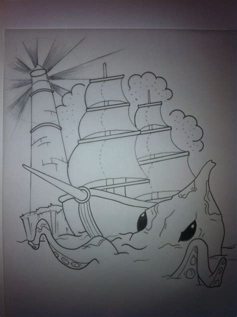 sea monster tattoo designs ship sea design by booders9 on deviantart
