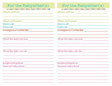nanny information sheet template information sheet template