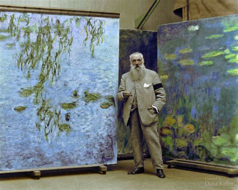 1923 photo of claude monet colorized see the painter in