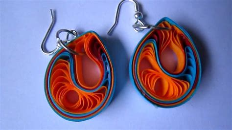 Paper Craft Paper Quilling Handmade Jewelry Earrings - handmade jewelry paper quilling teardrops earrings
