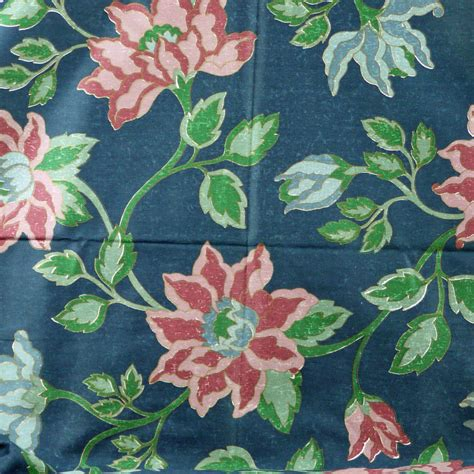 large print drapery fabric 1 yard blue large floral print upholstery or home decor