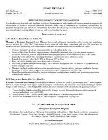 Sle Resume For Call Center by Customer Service Call Center Resume Resume Format