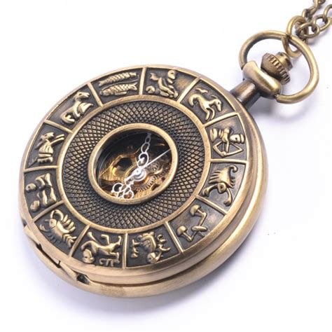 mechanical vintage brass pocket horoscope