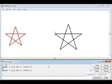 logo pattern commands hard problems in logo drawing a star in one command