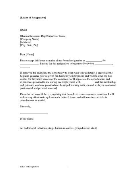 resignation letter format free printable good letters of