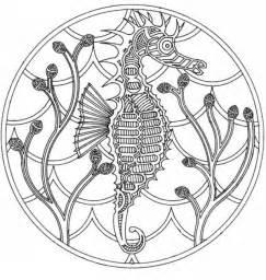 coloriage adulte mer mandala hippocampe 3