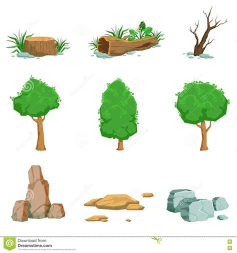 imagenes de objetos naturales y artificiales objetos naturales del paisaje fijados de iconos detallados