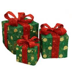 green polka dot christmas package lighted christmas