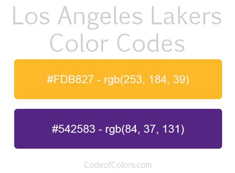 lakers colors los angeles lakers team color codes nba team colors