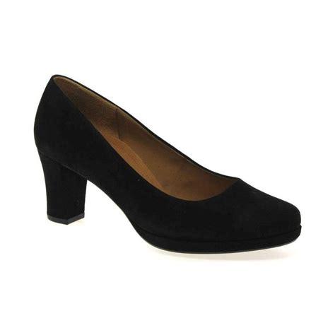gabor ella womens wide fit suede court shoes black shoes