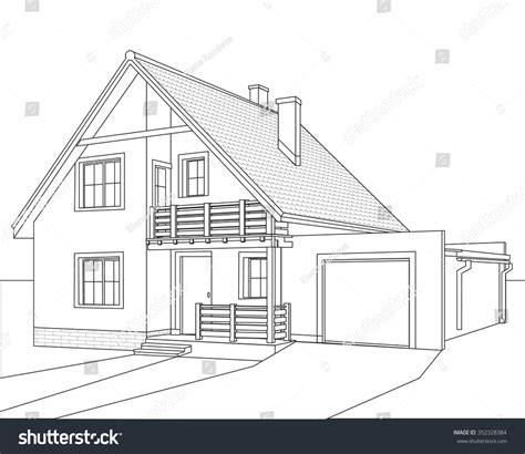 drawing of a house with garage outline drawing of a house with a loft a balcony and a