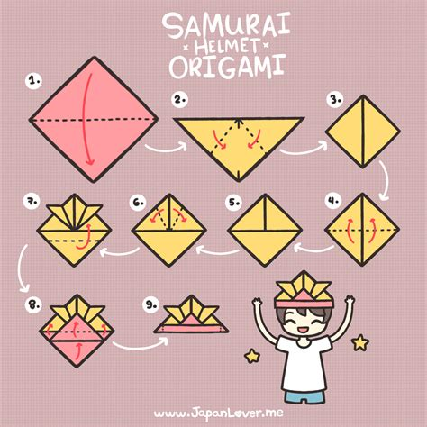 samurai helmet origami tutorial cool japan lover me
