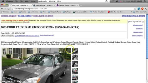 Craigslist Port Fl Cars by Craigslist Sarasota Florida Used Cars Trucks And Vans For Sale By Owner Options 1500