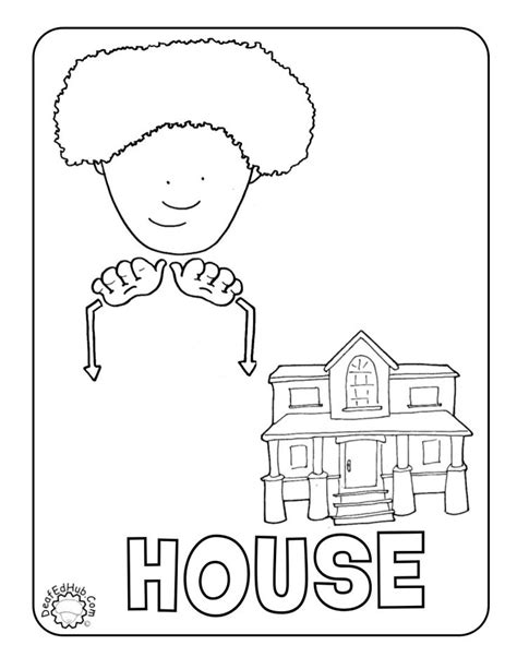 sign language i love you coloring pages how to draw house signs