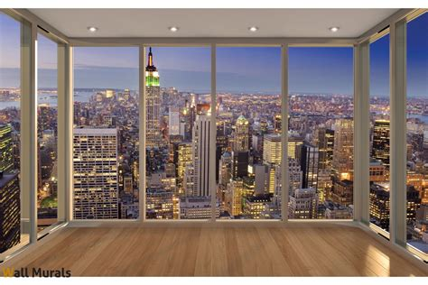 Fashion Wall Murals wallpapers view from new york window gold