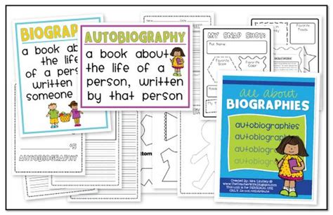 biography and autobiography sorting activity book student and end of on pinterest
