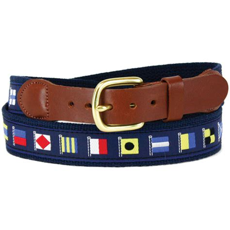 Flag Leather Motif Kode Df5908 leather cotton web belt with blue code flags motif