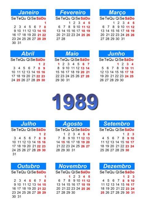 Calendario De 1989 Calend 225 1989 Para Imprimir E Em Pdf Abc