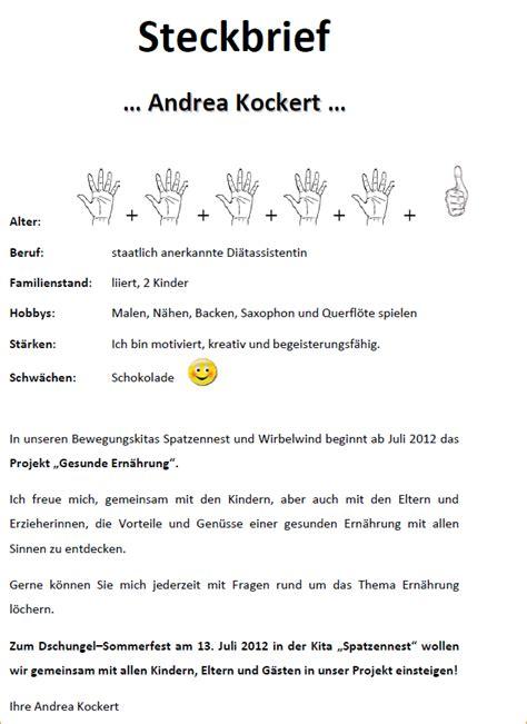 Steckbrief Praktikum Kindergarten Vorlage 12 Vorstellungsbrief F 252 R Die Eltern Kindergarten Praktikantin Deckblatt Bewerbung